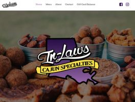 Screen shot of In-Laws Cajun Specialties website design by Oxblaze Media, Heather Duff Lake Charles, LA