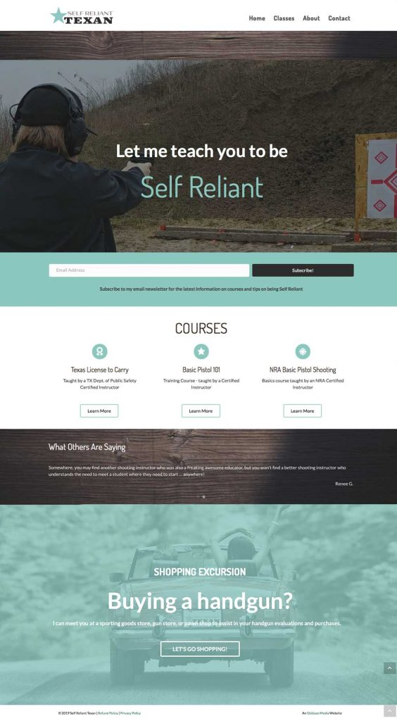 SelfReliantTexan.com home page layout.