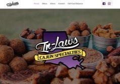 Screen shot of In-Laws Cajun Specialties website design by Oxblaze Media, Heather Duff Lake Charles, LA